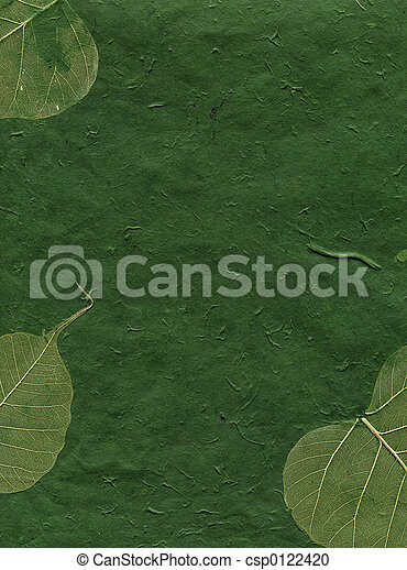 Close up of green paper with leaves.