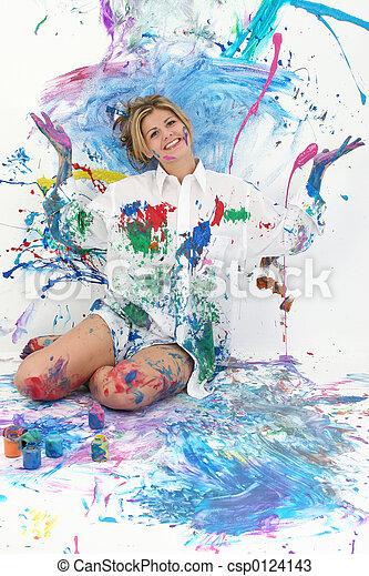 Teen Woman Painting - csp0124143