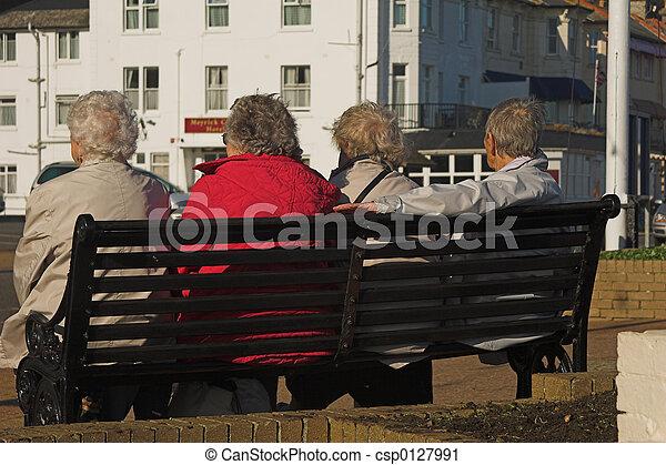 Elderly ladies on a bench - csp0127991