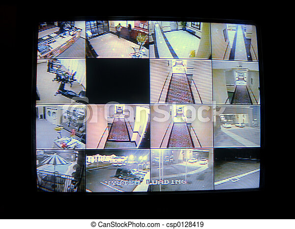 CCTV, sicurezza, orologio - csp0128419