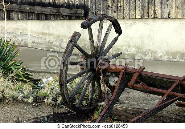 antikvitet, Vagn, gammal,  &,  wheelold, bruten, hjul - csp0128453