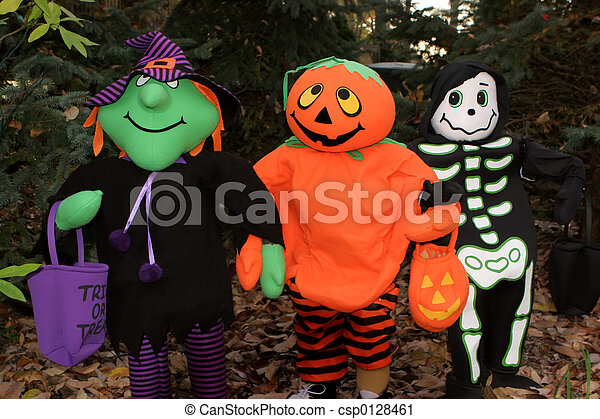 Witch, Pumpkin and Skeleton friends decoration.