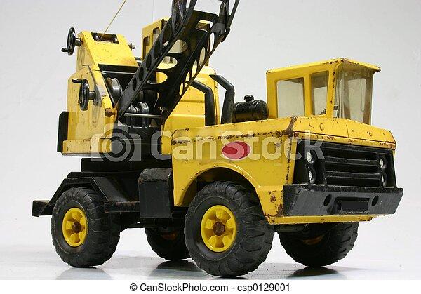 photographies de jouet grue vendange jouet grue camion blanc fond csp0129001. Black Bedroom Furniture Sets. Home Design Ideas