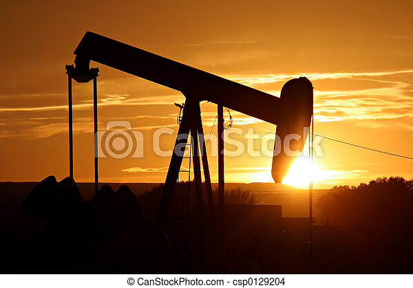 oil pump against setting sun - csp0129204