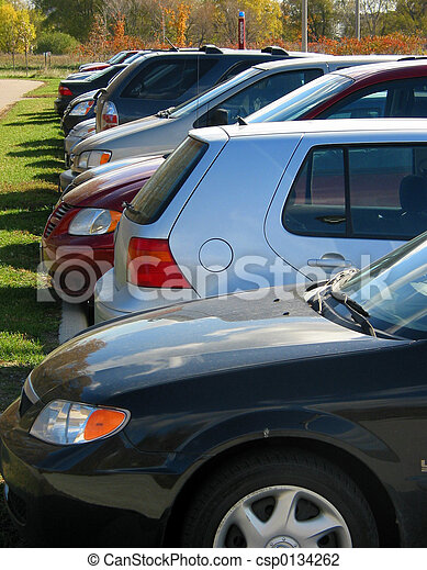 Row of cars in the parking lot - csp0134262