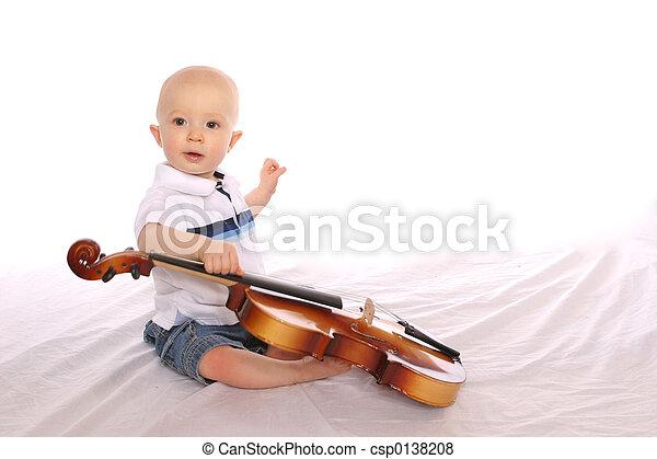bebé, músico, Uno - csp0138208