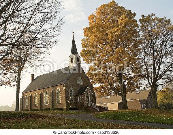 秋天, 教堂 - csp0138636