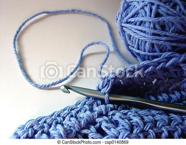 Banque de photographies de faire crochet bleu fil crochet crochet fonctionnement - Fil bleu tarif ...