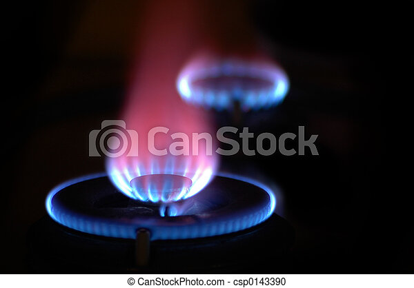 Flames from 2 Stoves - csp0143390