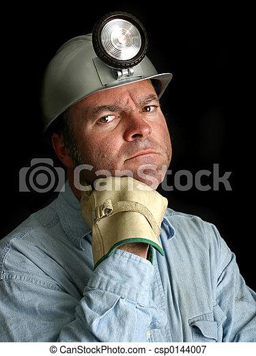 carbón, minero, retrato, 2 - csp0144007