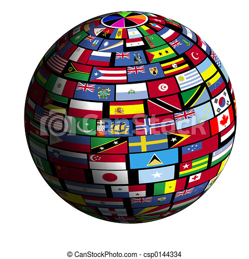 Flag-covered Earth- Quad1 view - csp0144334