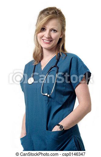 Smiling nurse wearin - csp0146347