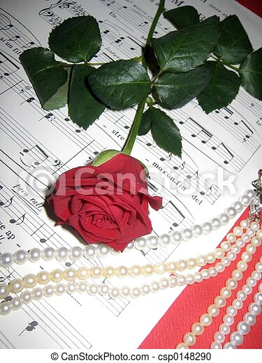 music and red rose