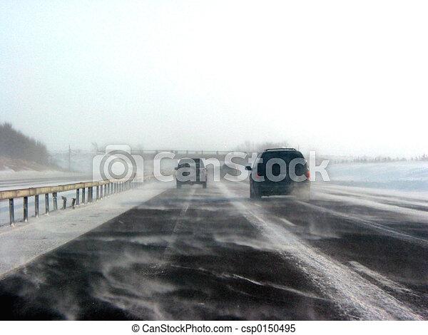 Winter highway during snow storm - csp0150495