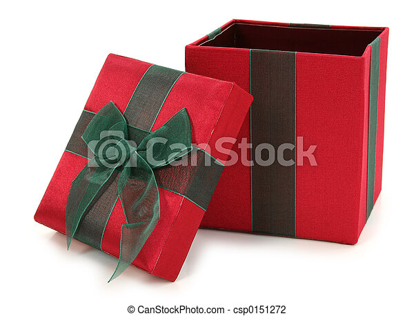 Red and Green Fabric Gift Box - csp0151272