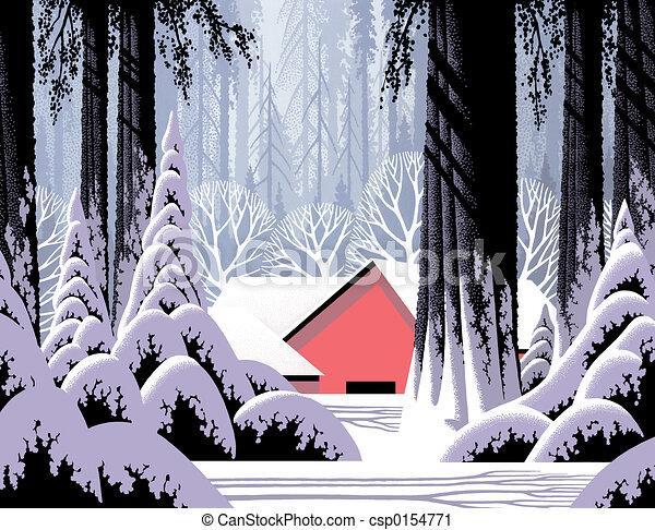 Winter Barn Scene - csp0154771
