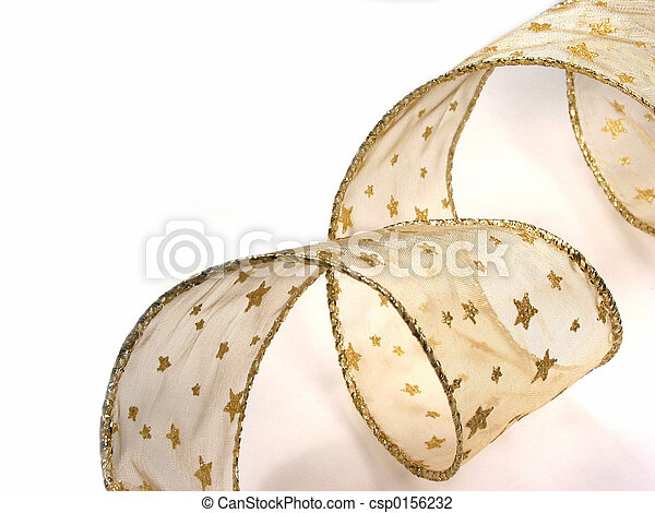 Gold Christamas ribbon on white - csp0156232