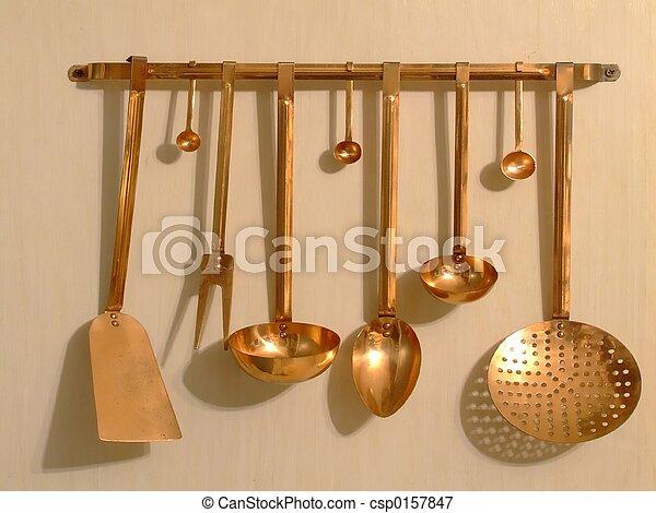 image de cuivre ustensiles cuivre cuisine ustensiles csp0157847 recherchez des. Black Bedroom Furniture Sets. Home Design Ideas