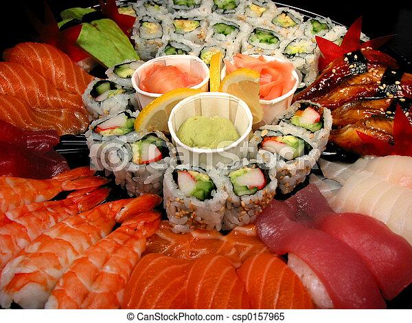 Stock im genes de fiesta sushi primer plano bandeja fiesta bandeja de csp0157965 - Bandejas para sushi ...