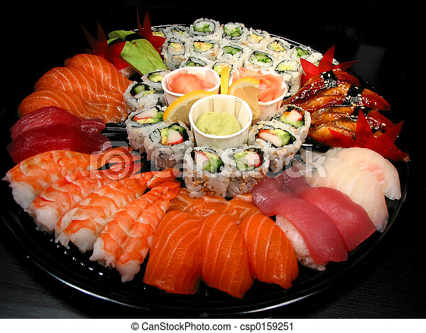 Stock de fotos Sushi, fiesta, bandeja,