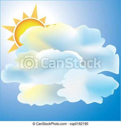 principalmente, nublado, sol, tempo, ícone - csp0162190