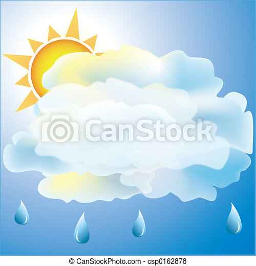 Mostly Cloudy with rain weather icon - csp0162878