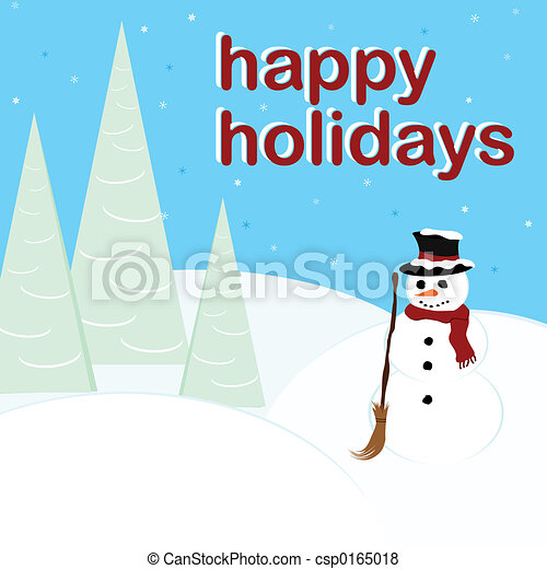 Happy Holidays - Snowman - csp0165018