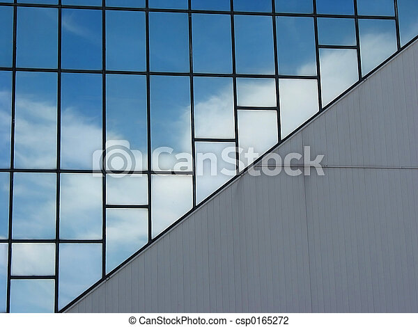Clouds reflection in office building - csp0165272