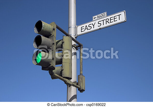Easy Street with Green Light - csp0169022