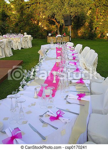 bridal table at wedding reception outdoors Save Comp