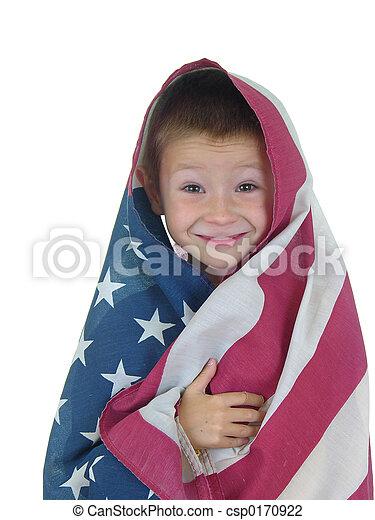 cuatro, niño, bandera - csp0170922