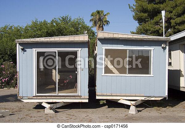 Stock Image of Trailer Trash #2 - A split in half mobile home ...
