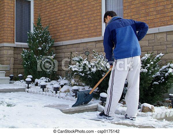 Shoveling snow. - csp0175142