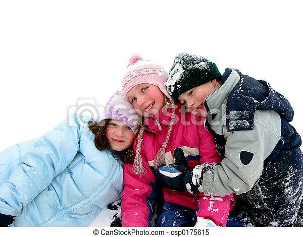 spielende, Schnee, Kinder - csp0175615
