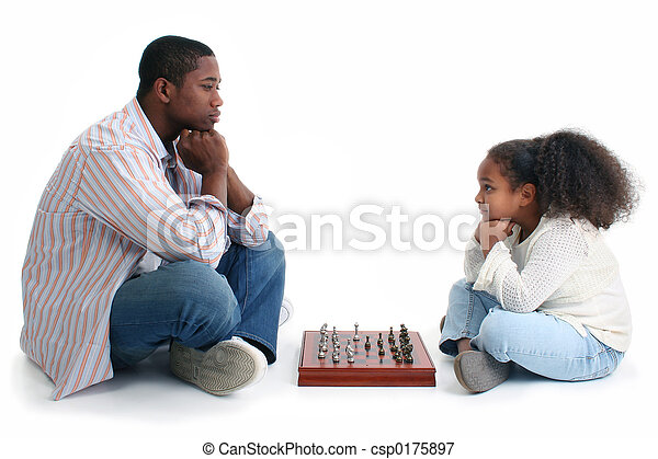 Father Child Chess - csp0175897