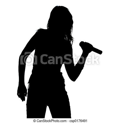 Little Girl Singing Silhouette