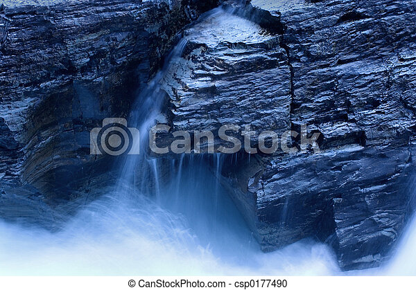 Waterfall in Moonlight - csp0177490