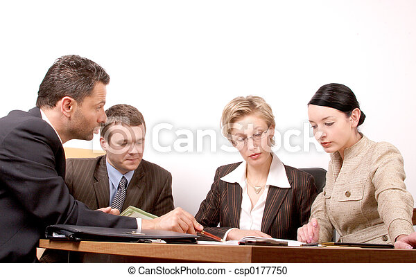 ミーティング, 4人の人々 - csp0177750