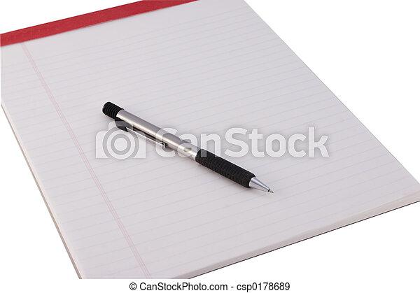 Legal Pad and Pencil - csp0178689