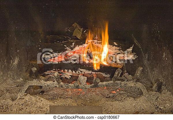 Warm winter fire place
