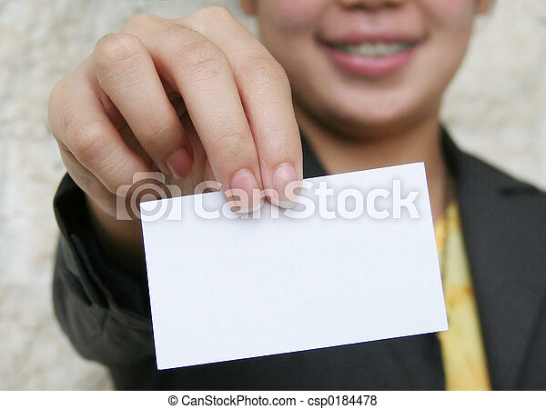 Pictures of Business Card - Woman holding out blank business card; focus...