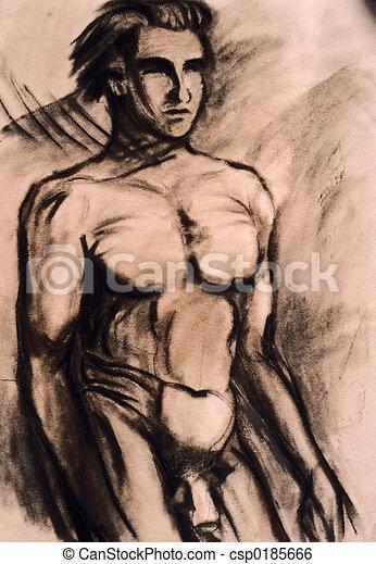 Studies of naked man torso - csp0185666
