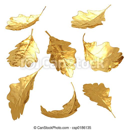 Gilded Oak Leaves - csp0186135