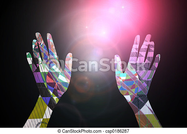 Abstract Concept - Hands Reaching Towards The Stars - csp0186287