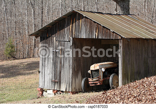 Stock Photo - Old tractor in shed - stock image, images, royalty free ...: www.canstockphoto.com/old-tractor-in-shed-0187033.html
