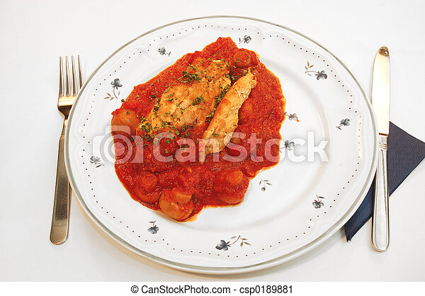 Chicken filet provencale. - csp0189881