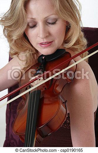 mulher, tocando, violino - csp0190165