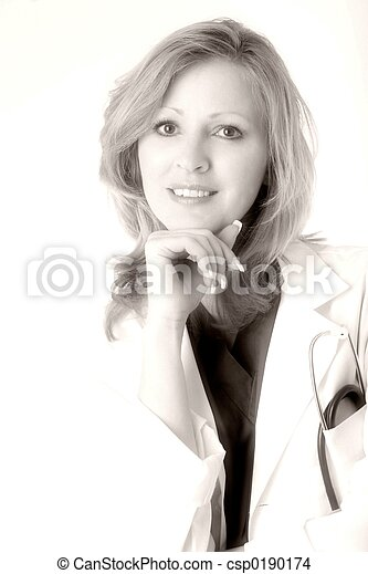 Lady doctor in black and white