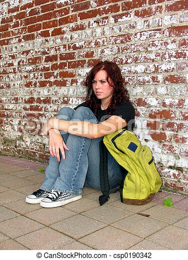 青少年, 背包, 街道 - csp0190342