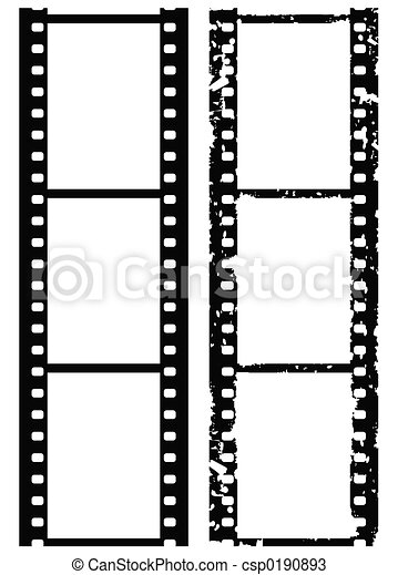 Grunge photo border, 35 mm film, vector illustration - csp0190893